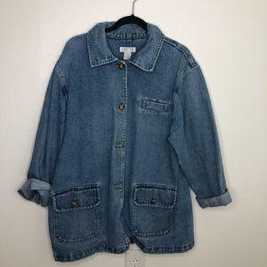 Vintage 90's denim jacket oversized chore coat L